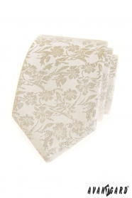 Smotanová kravata s kvetinovým vzorom