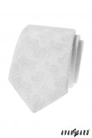 Biela kravata s Paisley vzorom