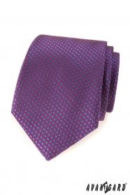 Fialová kravata s modrými bodkami
