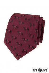 Bordó kravata vzor čierny kôň