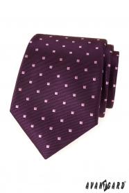 Fialová pánska kravata sa štvorčeky