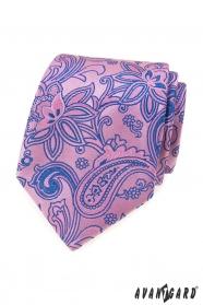 Ružová kravata s modrým Paisley vzorom