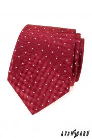 Červená vzorovaná kravata s bielou bodkou