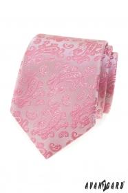Ružová kravata so vzorom Paisley