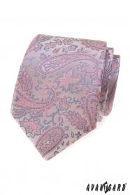 Púdrovo-šedá kravata Paisley