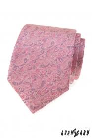 Ružovo-sivá kravata Paisley