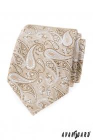 Béžová kravata s paisley vzorom
