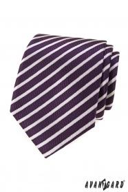 Fialová pánska kravata s prúžkami