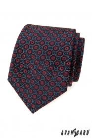 Modrá kravata s modro-červeným vzorom