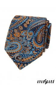 Modrá kravata s farebným paisley vzorom
