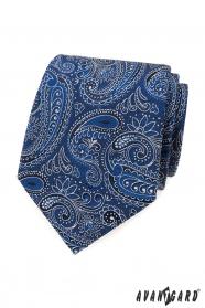Kravata s modro-bielym paisley vzorom
