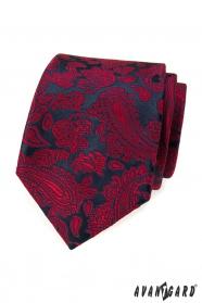 Tmavo modrá kravata s červeným paisley vzorom