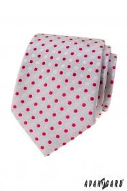 Šedá kravata s červenými bodkami
