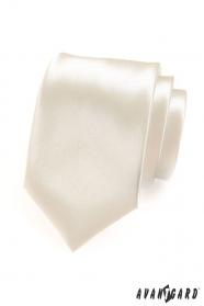 Pánska kravata smotanová s vysokým leskom