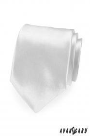 Biela pánska kravata hodvábny lesk