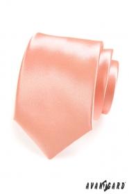 Hladká lesklá pánska kravata v lososovom tóne