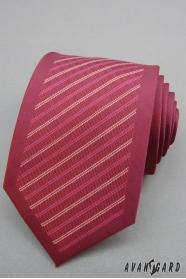 Pánska kravata bordó s pruhmi