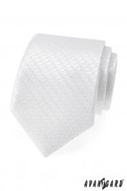 Slávnostna biela kravata so striebornou niťou
