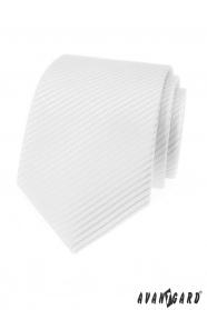 Biela pánska kravata s prúžkami