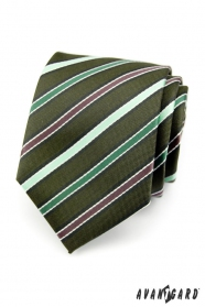 Pánska kravata LUX - Zelená prúžky