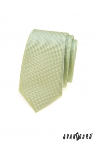 Zelená kravata SLIM, pletená štruktúra