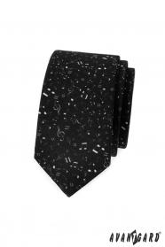 Čierna slim kravata Noty