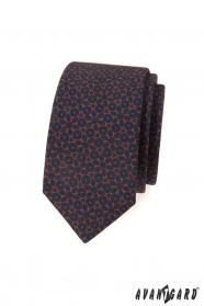 Modrá slim kravata s hnedým vzorom