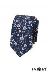 Modrá slim kravata s ružovými kvetmi