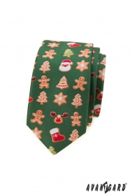 Zelená slim kravata s vianočným motívom