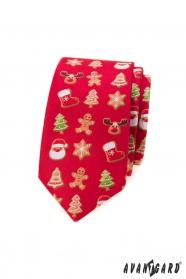 Červená slim kravata s vianočným motívom