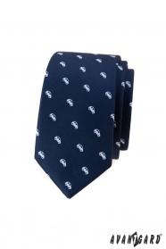 Modrá slim kravata s motívom biela auta