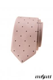 Béžová slim kravata s malými čiernymi bodkami