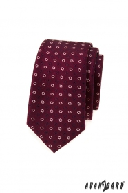 Bordó slim kravata s bielymi kvetmi