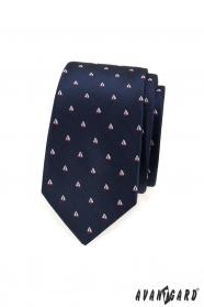 Modrá slim kravata vzor plachetnica