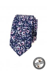 Tmavo modrá slim kravata s ružovými kvetmi