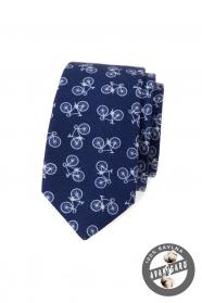 Modrá bavlnená slim kravata s motívom bicykel