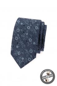 Modrá kravata SLIM jeans s kvetinami