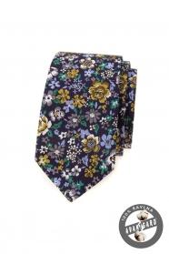 Tmavo fialová slim kravata s farebnými kvetmi
