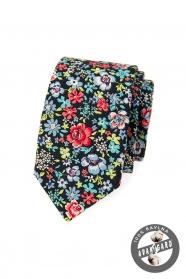 Modrá kravata SLIM s farebnými kvetmi