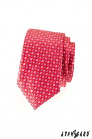 Pánska kravata SLIM tmavoružová matná s hviezdičkami