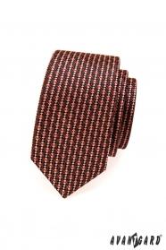 Kravata SLIM hnedé a červené tóny