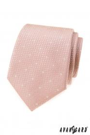Púdrovo ružová kravata so snehovými vločkami