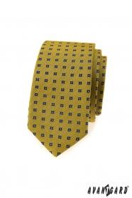 Tmavožltá slim kravata s modrým vzorom