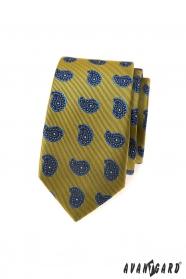Zelenkavá kravata slim modrým Paisley vzorom