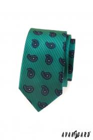 Zelená kravata slim modrý Paisley motív