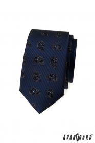 Modrá slim kravata s malým paisley vzorom