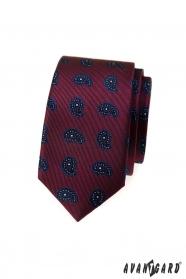 Bordó slim kravata s malým paisley vzorom