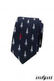 Modrá slim kravata vzor raketa