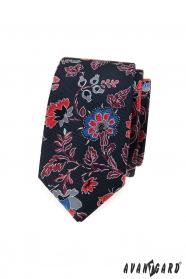 Pánska slim kravata s farebnými kvetmi