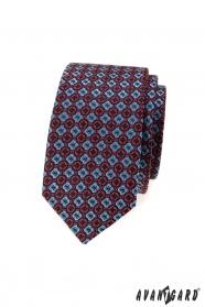 Pánska slim kravata s modro-červeným vzorom